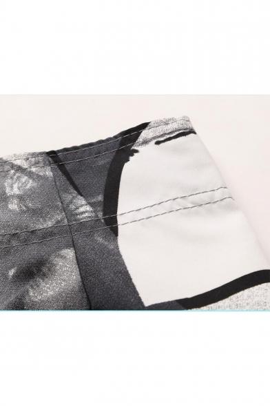 Men's Quick Drying Fashion Coconut Palm Tropical Print Drawcord Summer Surfing Swim Shorts