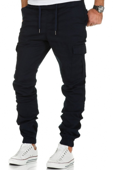 Mens Basic Simple Plain Drawstring Waist Flap-Pocket Side Elasticized Cuff Fitted Cargo Pants