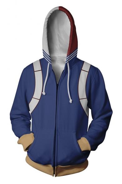 My Hero Academia 3D Printed Cosplay Costume Full Zip Loose Fitted Blue Hoodie