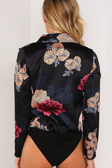 New Fashion Floral Printed Long Sleeve Notched Lapel Collar Bodysuit Blouse for Women