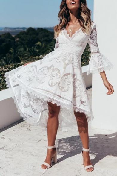 New Stylish White V-Neck Flared Sleeve Midi Lace Asymmetrical Dress