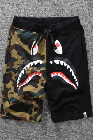 New Trendy Shark Camo Printed Drawstring Waist Relaxed Beach Sweat Shorts
