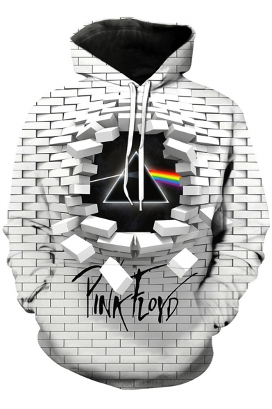 Popular Rock Band Cool Unique 3D Checkerboard Rainbow Triangle Printed White Casual Hoodie