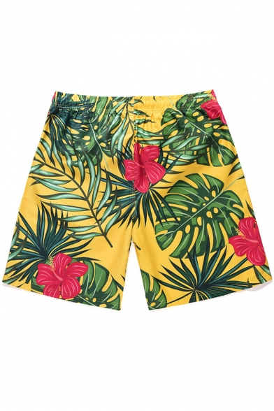 Summer Beach Tropical Plants Printed Drawstring Waist Mens Surfing Green Swim Trunks