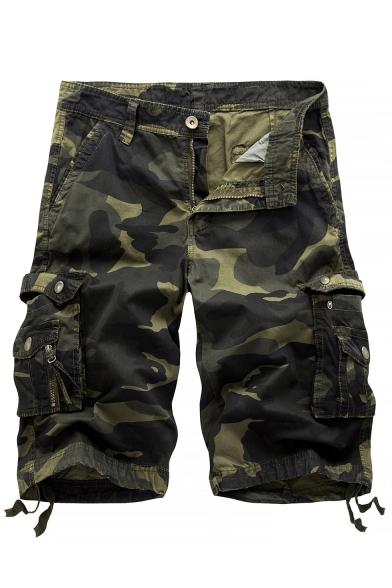 Summer Hot Fashion Camo Printed Ribbon Detail Mens Cotton Military Style Cargo Shorts