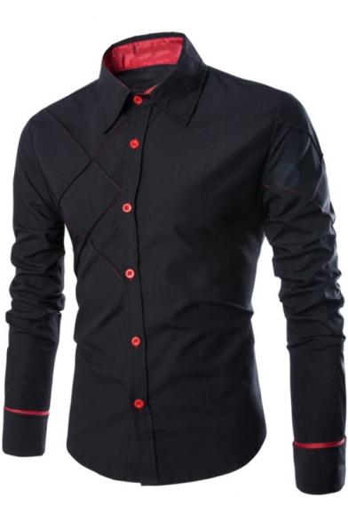 Unique Contrast Stitching Mens Long Sleeve Button-Up Plain Casual Shirt