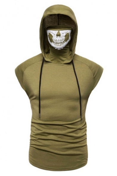 Unique Cool Skull Hooded Sleeveless Summer Fitted Tank T-Shirt for Men