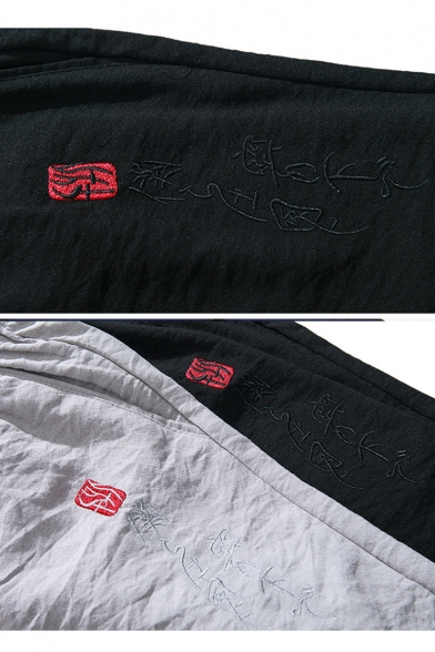 Chinese Style Embroidered Drawstring Waist Breathable Linen Sport Shorts