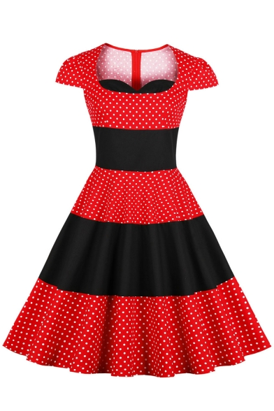 Fashion Cap Sleeve Polka-Dot Print Color Block Midi Fit and Flared Red Dress