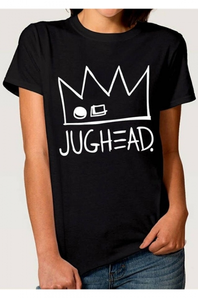 Fashion Crown Letter Printed Short Sleeve Round Neck Cotton Black T-Shirt
