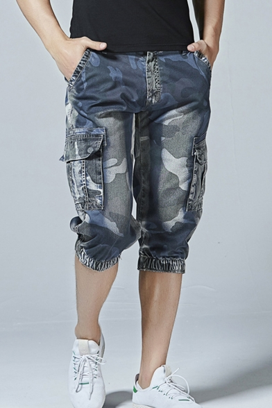Guys New Trendy Camouflage Printed Elastic-Cuff Blue Denim Shorts Cargo Shorts