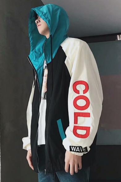 Guys Street Hip Hop Fashion Cool Letter COLD Print Colorblock Zip Up Hooded Windproof Sport Track Jacket