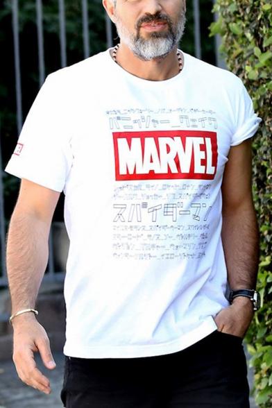 Marvel The Avengers Series Figure Letter Printed Short Sleeve Round Neck Unisex T-Shirt