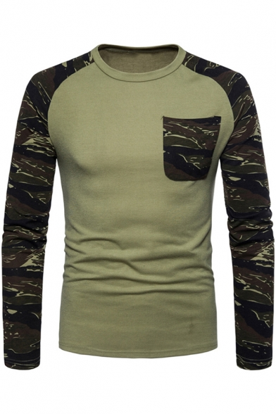 Men's New Trendy Camo Printed Round Neck Long Sleeve Casual Pullover T-Shirt