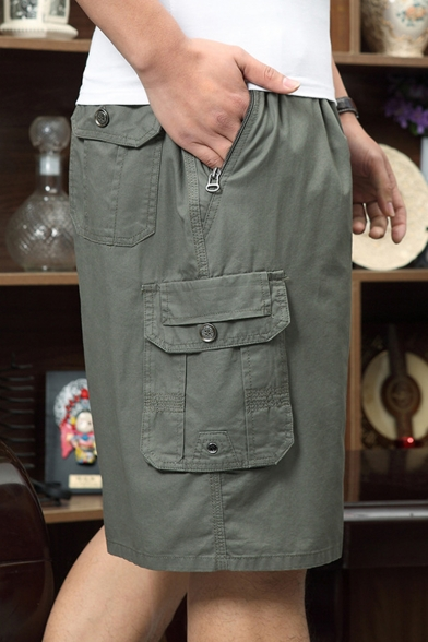 Men's Stylish Plain Drawstring Waist Embroidery Zip-Pockets Casual Relaxed Cotton Shorts
