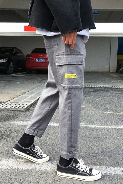 Mens Casual Leisure Loose Fit Cotton Grey Tapered Cargo Trousers