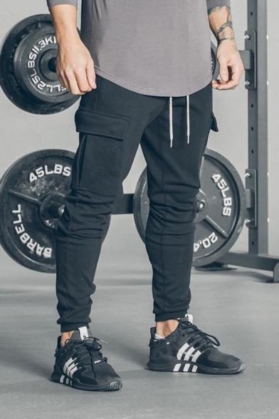 Mens Fashion Camo Printed Drawstring Waist Training Fitness Cargo Pants Pencil Pants