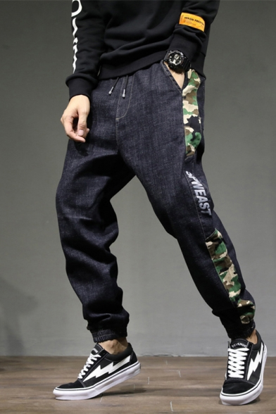 New Stylish Camo Letter Side Drawstring-Waist Elastic Cuff Guys Stretch Fit Black Jeans