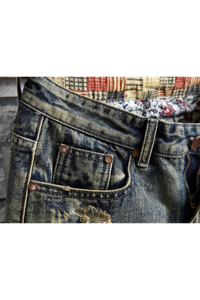 New Stylish Distressed Ripped Applique Patched Casual Blue Denim Shorts for Men