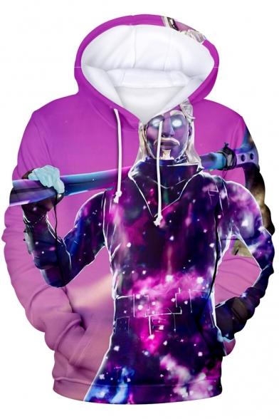 Popular Game Figure Printed Long Sleeve Unisex Purple Hoodie