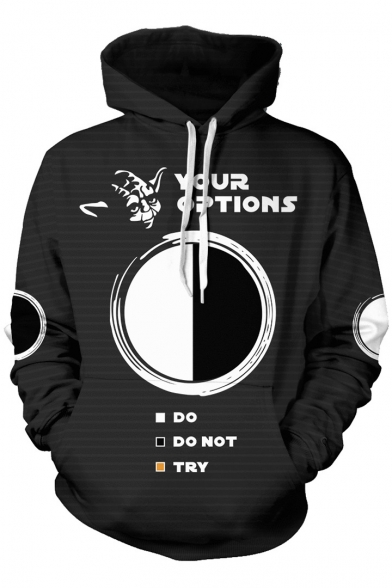 Star Wars Cool 3D Circle Figure Letter YOUR OPTIONS Printed Long Sleeve Unisex Casual Black Pullover Hoodie