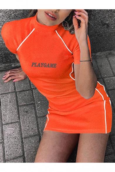 Stylish Letter PLAYGAME Printed Mock Neck Short Sleeve Reflective Striped Side Fit Mini Orange Tee Dress