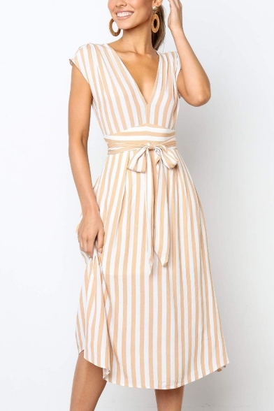 Summer Trendy Striped Printed V-Neck Bow-Tied Waist Midi A-Line Graceful Dress for Women