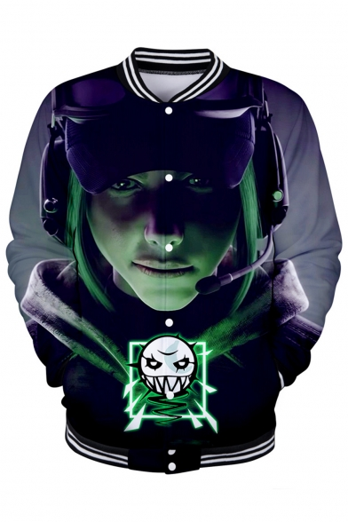 Tom Clancy's Rainbow Six Fashion 3D Figure Printed Stand-Collar Button Down Baseball Jacket