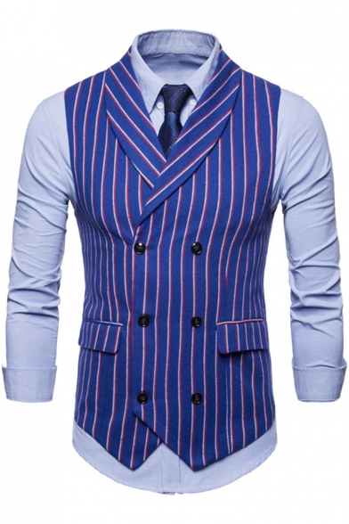 Trendy Striped Print Shawl Collar Double Breasted Slim Fit Dress Suit Vest for Men