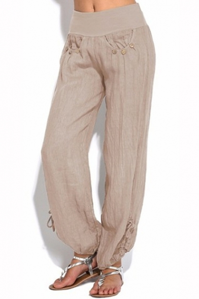 Women's Buttons Patched Elastic Waistband Adjustable Cuffs Plain Loose Fit Pants