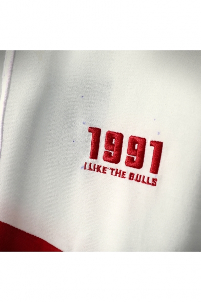 1991 I LIKE THE BULLS Simple Letter Embroidery Fashion Colorblock Hoodie