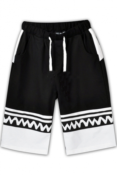 Cartoon Ear Patched Wave Stripe Letter Printed Colorblocked Drawstring-Waist Black Cotton Sport Shorts for Men