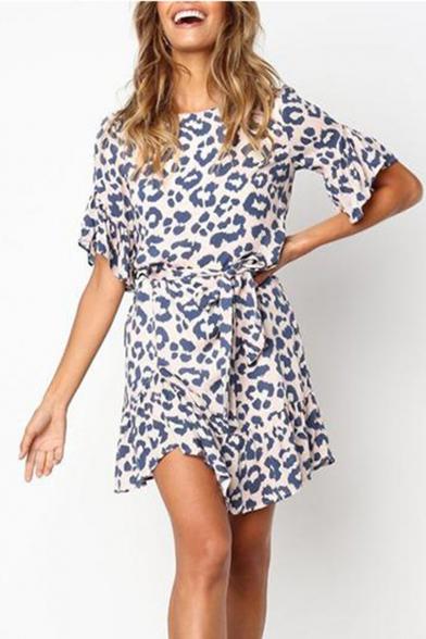 Cool Leopard Print Flare Sleeve Ruffle Hem Tied Waist Mini A-Line Dress