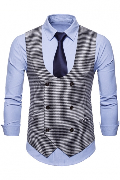 Fashion Houndstooth Print Double Breasted Casual Suit Vest for Men