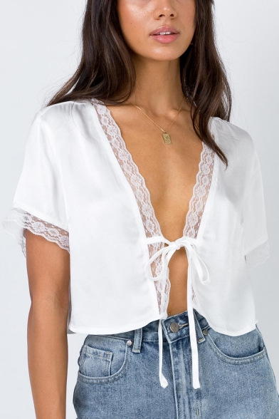 Fashionable Short Sleeve Tied Front White Lace Patched Crop Shirt