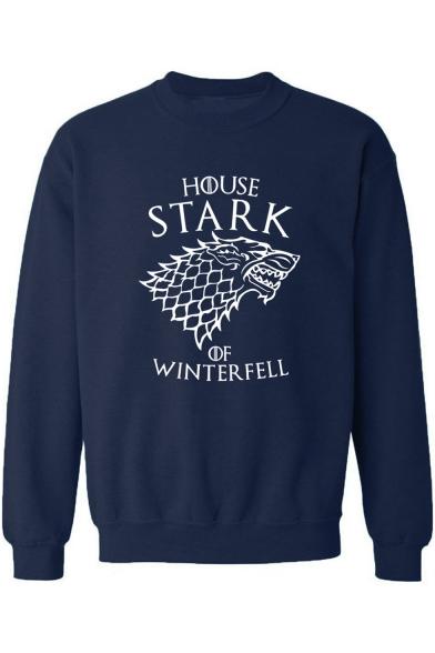 Game of Thrones Stark Wolf Printed Crewneck Long Sleeve Pullover Sweatshirt for Men