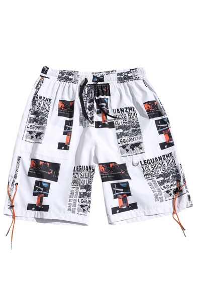 Guys Cool Street Letter Pattern Ribbon Embellished Wide-Leg Holiday Beach Shorts