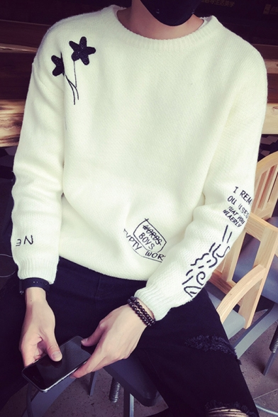 Guys Simple Letter Star Print Round Neck Casual Loose Warm Thick Sweater