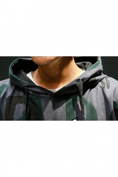 Hot Fashion Camo Letter MADE IN CHINA Printed Patchwork Long Sleeve Mens Relaxed Hoodie