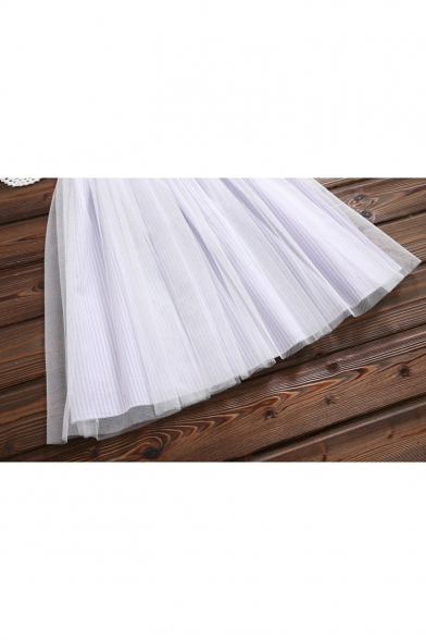 Lovely Doll Collar Mesh Inert Striped Print Short Sleeve Button Front Drawstring Waist Midi A-Line Dress