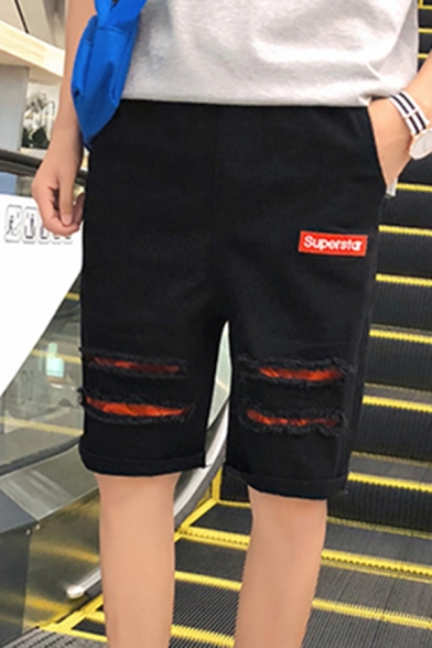 Men's New Fashion Letter SUPERSTAR Patched Drawstring Waist Destroyed Ripped Rolled Cuff Black Casual Denim Shorts