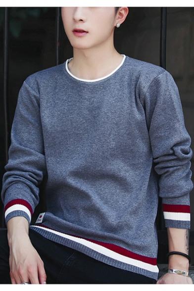 Men's New Fashion Striped Print Long Sleeve Contrast Hem Casual Sweater