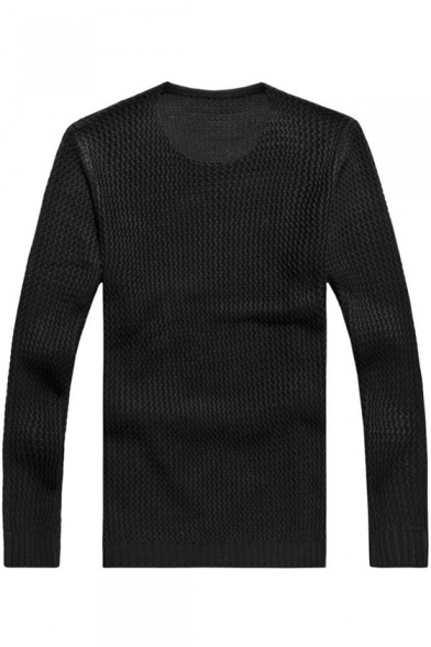 Mens New Trendy Solid Color Round Neck Loose Casual Slouch Jumper Sweater