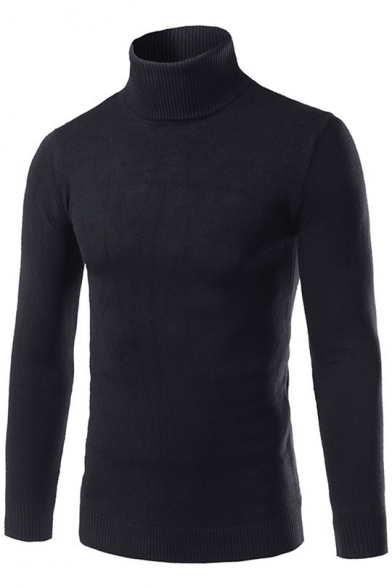 Mens Simple Solid Color High Neck Long Sleeve Fitted Basic Knit Jumper Sweater