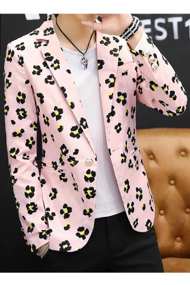 Comfy Men Notch Lapel Patch Floral Print Designed 1 Button Blazer Coats