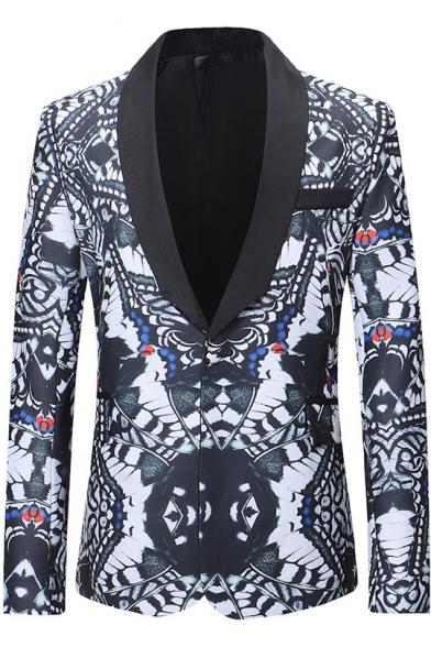 Mens Unique Allover Printed Shawl Collar Single Button Long Sleeve Leisure Tuxedo Blazer