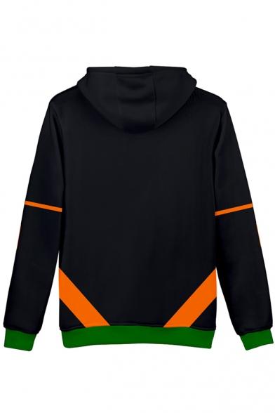 3D Colorblocked Cosplay Costume Long Sleeve Black Drawstring Hoodie