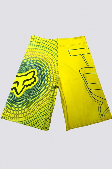 New Stylish Letter Plaid Pattern Quick-Drying Drawstring-Waist Men's Leisure Surf Swim Shorts