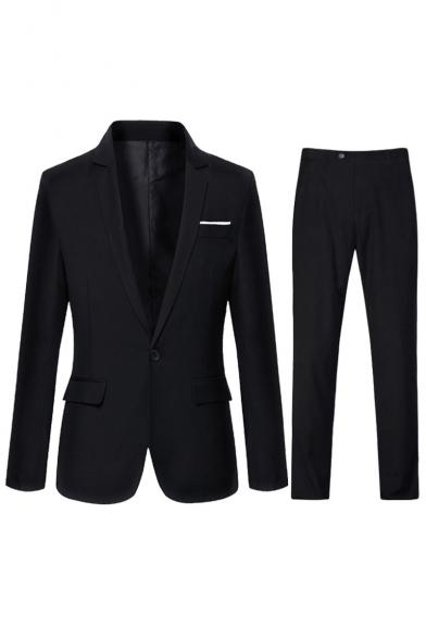 Notched Lapel Collar Long Sleeve Single Button Mens Black Wedding Dress Suit Set