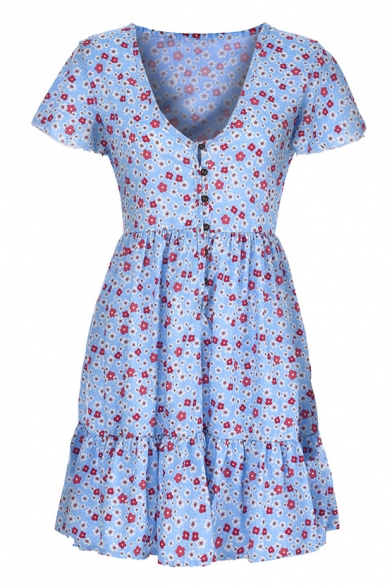 Sexy V-Neck Floral Printed Button Front Short Sleeve Mini A-Line Dress